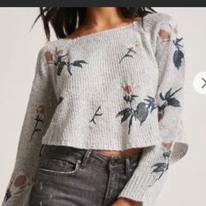 Woven Heart Cropped Embroidered Sweater
